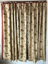 "MTM Floral Embroidered Faux Silk Interlined Curtains 72.5""W/68""L"
