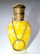 Beautiful Antique Bohemian Moser Perfume Bottle With Gold Chain & Top