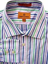 SIMON CARTER Shirt Mens 15.5 M White – Multi-Coloured Stripes SLIM FIT