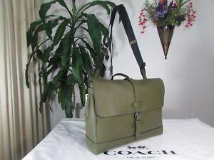 NWT Coach Hudson Natural Pebble Leather Messenger Bag F36810 Dark Olive
