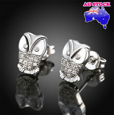 Wholesale 18K white gold Filled Cubic Zirconia Silver  Lovely Owl Stud Earrings