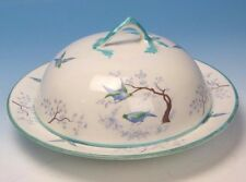 FAB VINTAGE COVERED BUTTER DISH BLUE BIRDS GROSVENOR CHINA YE OLDE ENGLISH GRO35
