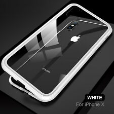 For iPhone X 8 7 6S Plus 360° Magnetic Adsorption Tempered Glass Back Case Cover