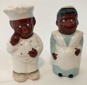 AFRICAN AMERICAN CHEF AND COOK SALT & PEPPER SHAKERS - JAPAN SET (SET 3)