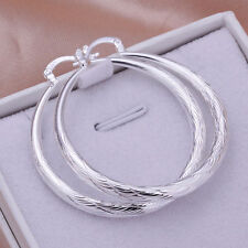 New Women Fashion Jewelry 925 Sterling Silver Plated  Round Dangle Hoop Earrings