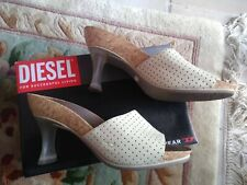 Diesel Mules. Size 6. Cream and grey.