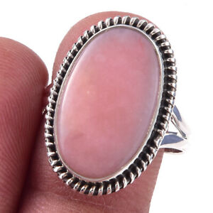 Pink Opal Gemstone Handmade 925 Solid Sterling Silver Ring Size 9