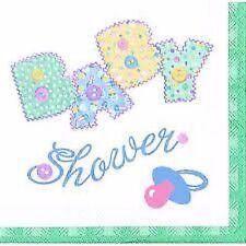 "Baby Shower Party Supplies ""Pastel Baby Stitching"" Napkin/Serviettes Pack of 16"