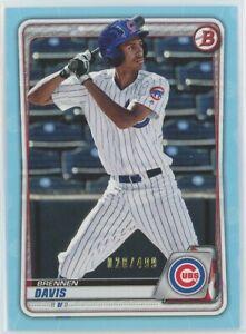 2020 Bowman BRENNEN DAVIS SKY BLUE PARALLEL SSP #/499 Cubs Prospect