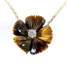 Boucheron 18K Oro Giallo di Tigre Occhio & Collana Ciondolo Diamante