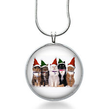 Santa Hat Cats Necklace - Animal Jewelry - Christmas Pendant- Cats Necklace