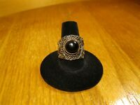 925 Sterling Silver Antique Vintage Ring Sz 10 Smooth Black Onyx Stone