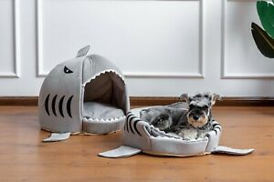 1 Large Shark shape Cat House Pet Soft Bed small Dog Cushion bed