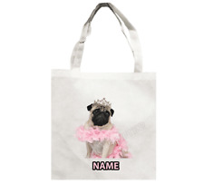 PUG SHOPPING WEEKEND BAG GIFT IDEA PUGS BAGS PET FACE PINK LINED HAND MADE UK