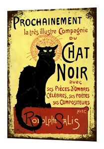 Chat Noir Black Cat Holiday Retro Vintage Metal Sign Wall Art Plaque