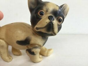 CELLULOID FRENCH BULLDOG DOG JOINTED ANTIQUE VINTAGE MAYBE VISCOLOID