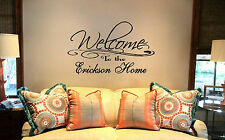 """24"""" Welcome to the Personalized Family Name home. Custom Decal Wall vinyl quote"""