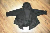 Lagenlook zipfelige Kapuzen-Shirt-Jacke schwarz-Rollsäume 48,50,52,54,XXL,XXXL