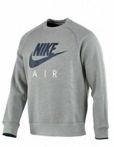NIKE AIR Mens  Sweatshirt Jumper sweater top crew neck Fleece GREY S M L XL