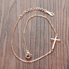 Chain Surgical Stainless Steel Ankle Bracelet Smooth Cross Rose Gold Gp Link