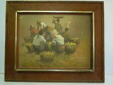 Filipino Oil Painting, Philippine Merchants in Market, R. Polul 1975, 30 x 40 cm