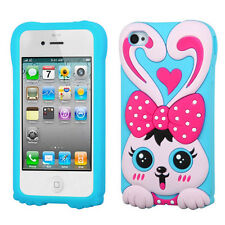 For Apple iPhone 4 4S Rubber SILICONE Skin Soft Gel Case Phone Cover Love Rabbit