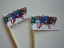20 CUPCAKE FLAGS/TOPPERS - SUPER HEROS CHILDRENS BIRTHDAY PARTY