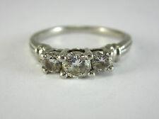*BEAUTIFUL LADIES PLATINUM THREE-STONE DIAMOND RING 6.6G 0.79CT SZ 9