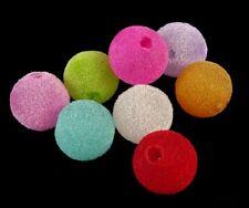 50 Fuzzy Beads Velvet Flocked 14mm for Kandi Bubblegum Necklaces Gumball Pony