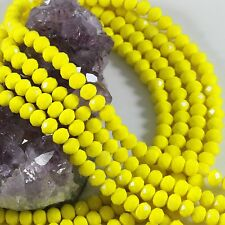 """16"""" 6mm Chinese Crystal Glass Beads Faceted Rondelle 6mm Agate Yellow Strand"""