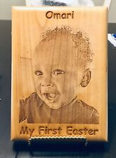 Personalized Laser Engraved 5 X 7 Wood Easter Picture