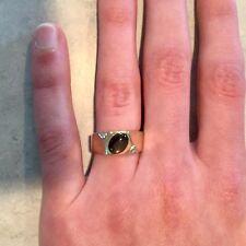 Mens Black Star Sapphire and Diamond Ring 10k Yellow Gold Heavy 7.3 grams