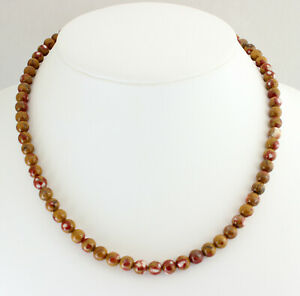 Pop Jasper Chain Gemstone Necklace Natural from Mexico Ball ca.44 CM