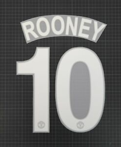 ROONEY #10 2008-2009 Player Size Champions League White Nameset Plastic