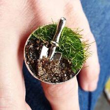 Unique THE GARDENER RING handmade GARDENING adjustable GRASS lawn CUTE miniature