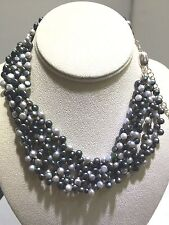 5 Strands  Gray   Freshwater Pearls Necklace in  925 Sterling Silver