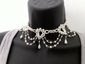 25cm Victorian Steampunk style White Bead Choker Necklace ref:C503