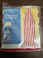 """Mainstays Ironing Board Cover & Pad Fits standard board 15"""" x 54"""" Red & White St"""