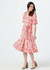 Isaac Mizrahi Live! Regular Bi-Color Floral Printed Knit Wrap Dress Rose Small