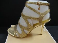 Michael Kors Yvonne Ankle Strap 40S3YVHA1D Evening Sandals Gold Size 9.5 NIB