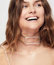 NEW Free People Caged Hex Choker Necklace Silver