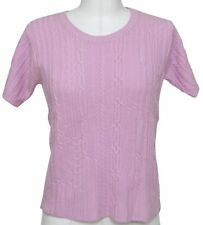 CHLOE Short Sleeve Knit Sweater Top Pink Wool Sz S