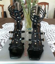 REPORT BARRETT black patent leather wedge sandals, size 8.5