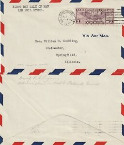 US 1930 5 CENT FIRST DAY COVER FLOWN FROM WASHINGTON DC TO SPRINGFIELD ILL