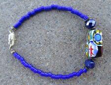 BLUE BRACELET GLASS/GENUINE VENETIAN MILLEFIORI/CZECH FIRE POLISHED CRYSTALS