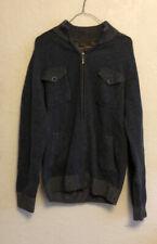 Pronto Uomo Blue Mens 100% Wool Zip Sweater
