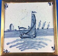 Kachel Fliese Holland blau 18.Jh. (?) Schiffsmotiv Messingmontur Untersetzer