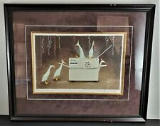 """Will Bullas Limited Edition SIGNED TWICE Print """"FRIDAYS AFTER FIVE"""" Geese Framed"""