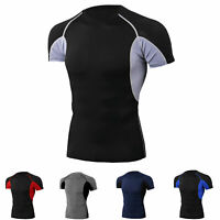 Men's Compression Top  Running Gym Short Sleeved Cool Dry Gym Shirt Quick-dry