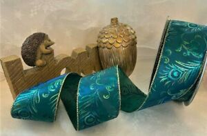 PEACOCK FEATHERS blue green gold glitter feather - Luxury Wire Edge Ribbon *NEW*
